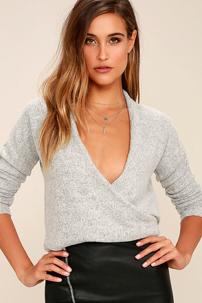 In Her Eyes Heather Grey Wrap Sweater at Lulus.com!