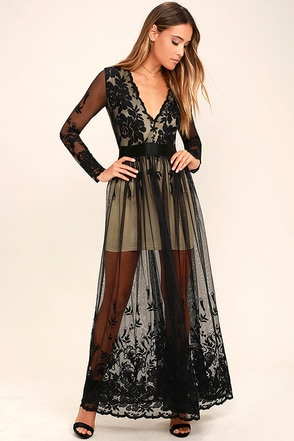 Night Moves Black Embroidered Maxi Dress at Lulus.com!
