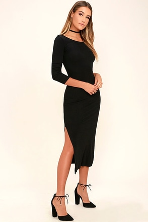 Amuse Society Naia Black Midi Dress at Lulus.com!
