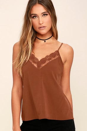 Amuse Society Harli Brown Lace Camisole at Lulus.com!