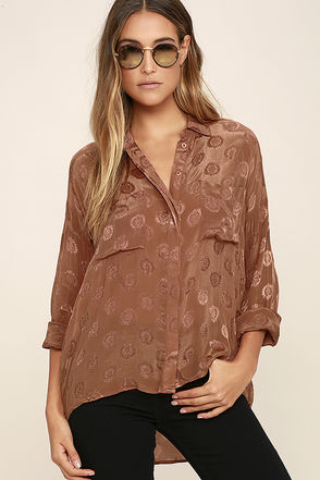 Amuse Society Tahara Brown Button-Up Top at Lulus.com!
