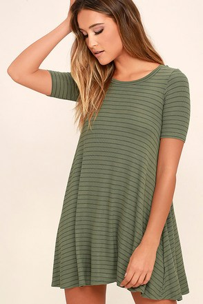 Billabong Lost Heart Sage Green Striped Dress at Lulus.com!