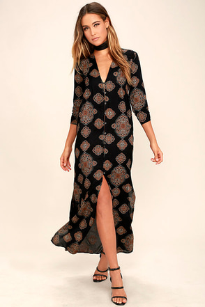Amuse Society Avryl Black Print Maxi Dress at Lulus.com!