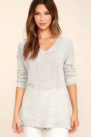Casual Friday Heather Grey Sweater at Lulus.com!