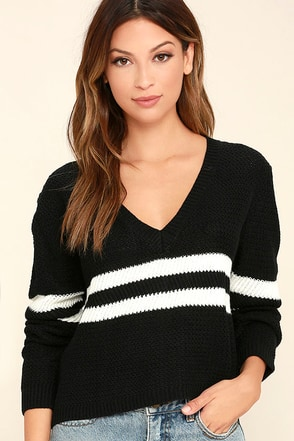 Pep Rally Black and White Striped Cropped Sweater at Lulus.com!