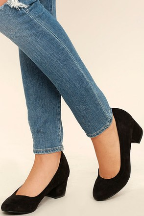 Having a Party Black Suede Heels at Lulus.com!