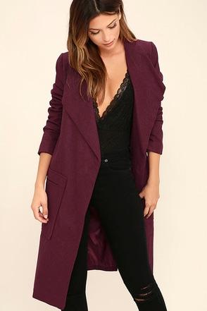 Travel the Globe Burgundy Coat at Lulus.com!