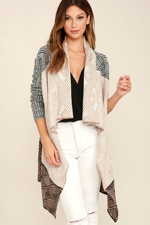 Amuse Society Aven Beige and Black Print Cardigan Sweater at Lulus.com!
