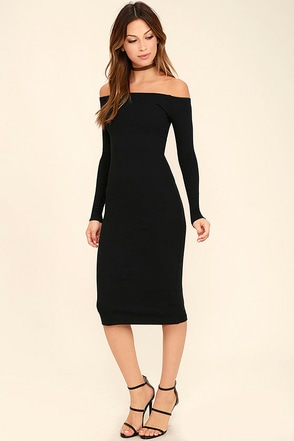 Billabong Help Myself Washed Black Off-the-Shoulder Midi Dress at Lulus.com!