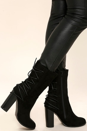 Night Life Black Suede Mid-Calf High Heel Boots at Lulus.com!