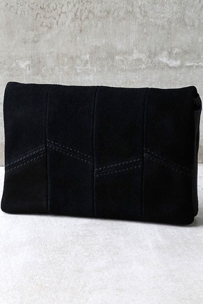 Show Me the Way Black Suede Leather Clutch at Lulus.com!