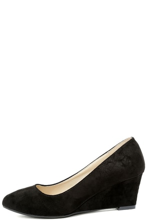 Speed Racer Black Suede Wedges at Lulus.com!