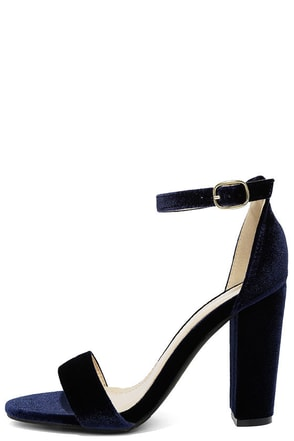 Something Sweet Navy Velvet Ankle Strap Heels at Lulus.com!