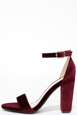Something Sweet Burgundy Velvet Ankle Strap Heels at Lulus.com!