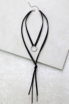 Ancient Circle Silver and Black Layered Necklace at Lulus.com!