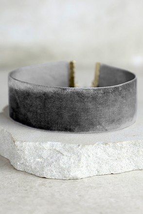 Well Wishes Grey Velvet Choker Necklace at Lulus.com!