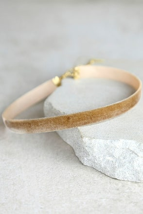 Stronger Tan Velvet Choker Necklace at Lulus.com!