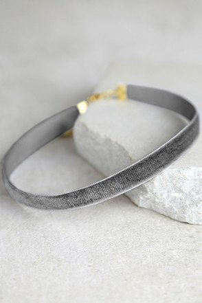 Stronger Grey Velvet Choker Necklace at Lulus.com!
