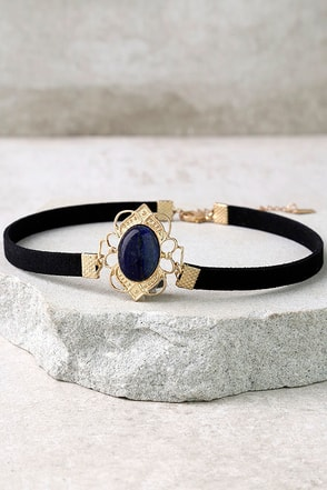 Elizabethan Blue and Black Choker Necklace at Lulus.com!