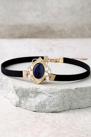 Elizabethan Blue and Black Choker Necklace at Lulus.com!