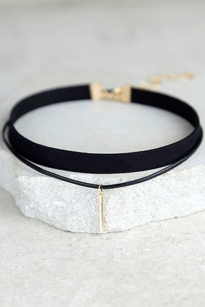 Sweetness Black and Gold Layered Choker Necklace 1