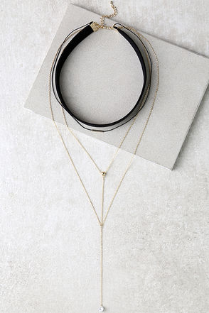 Too Hot Black and Gold Layered Choker Necklace at Lulus.com!
