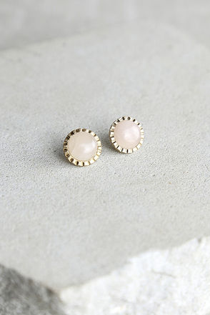 Kiss List Gold and Pink Earrings at Lulus.com!