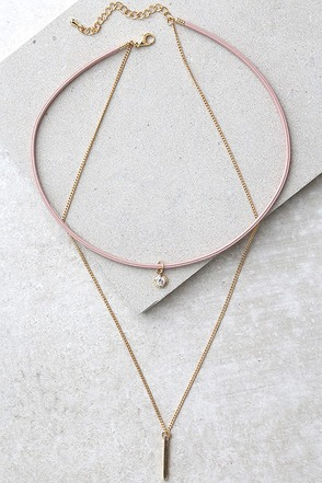 Angel Love Gold and Pink Layered Choker Necklace at Lulus.com!