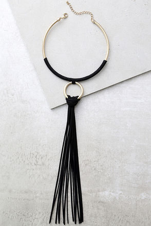 Keep You Around Gold and Black Collar Necklace at Lulus.com!