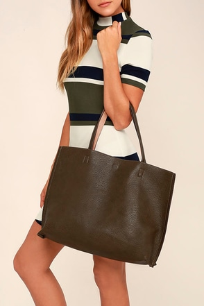 Reverse Role Olive Green and Nude Reversible Tote at Lulus.com!