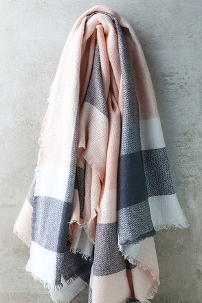 Cheering Section Blush Pink Plaid Scarf at Lulus.com!