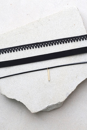 Mix Master Black Choker Necklace Set 1