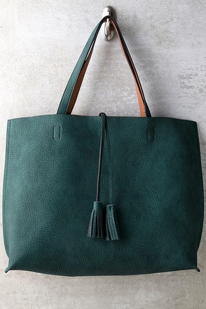 When We Were Young Tan and Teal Green Reversible Tote at Lulus.com!