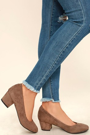 Having a Party Taupe Suede Heels at Lulus.com!