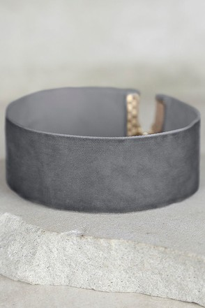 Slay Bae Bae Grey Velvet Choker Necklace at Lulus.com!