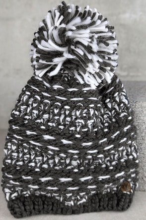 Element Eden Kirby White and Grey Knit Beanie at Lulus.com!