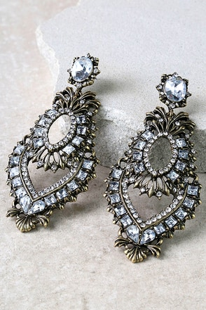 Baroque Palace Gold Rhinestone Earrings at Lulus.com!