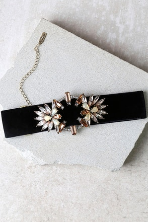 Fantasyland Black and Beige Rhinestone Choker Necklace at Lulus.com!
