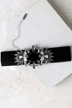 Fantasyland Black and Grey Rhinestone Choker Necklace at Lulus.com!