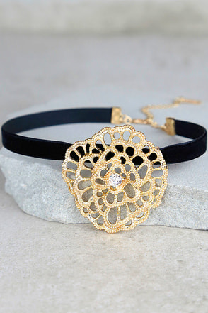 Palmyra Black and Gold Rhinestone Choker Necklace at Lulus.com!
