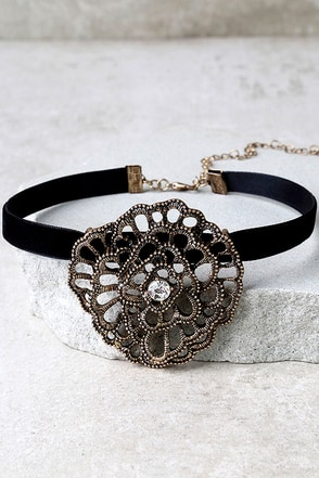 Palmyra Black and Antiqued Gold Rhinestone Choker Necklace at Lulus.com!