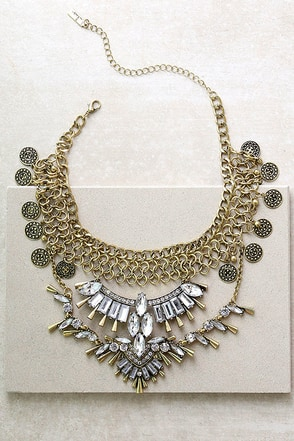 Love Tarot Gold Rhinestone Choker Necklace at Lulus.com!