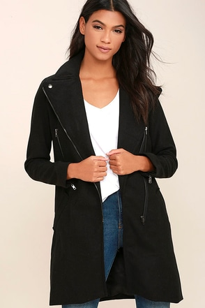 Happy to Help Black Coat at Lulus.com!