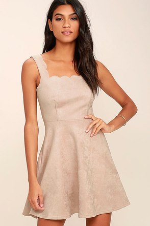 Atta Twirl Beige Suede Skater Dress at Lulus.com!
