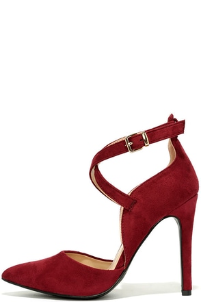 Important Invitee Wine Suede Heels at Lulus.com!
