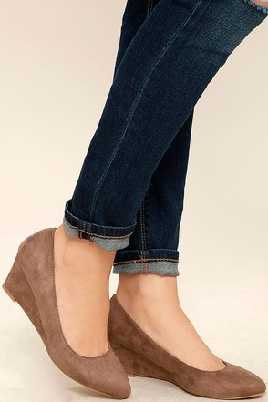 Speed Racer Taupe Suede Wedges 1
