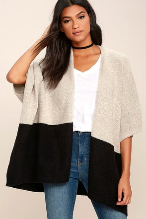 Olive & Oak Natural Order Light Grey and Black Sweater at Lulus.com!