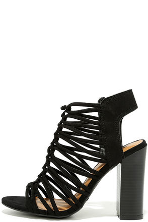 So You Black Suede Caged Heels at Lulus.com!