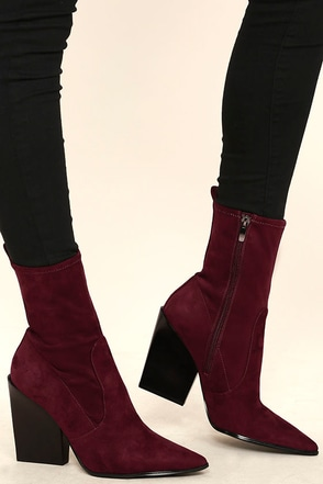 Kendall + Kylie Felicia Dark Red Suede Pointed Mid-Calf Boots at Lulus.com!