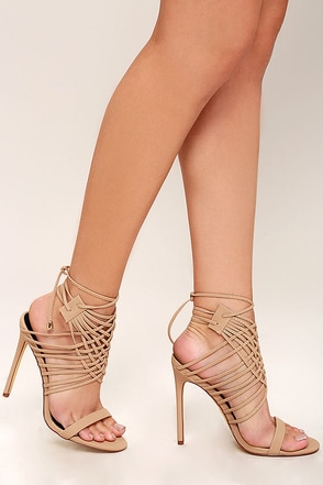 Weaving Tales Nude Nubuck Caged Heels at Lulus.com!
